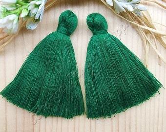 2pcs Large Handmade Cotton Tassel, 2'' Lawn Green Long Earring Tassel, Mala Necklace, Boho Cotton Tassel, Fashion Jewelry Making Supply, #32