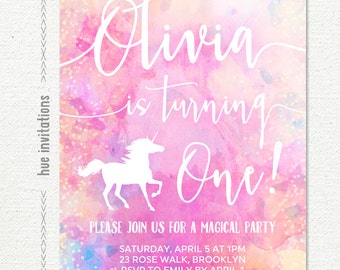 rainbow unicorn 1st birthday invitation, girls first birthday party invitation, pink purple watercolor, customized printable digital file