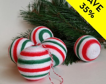 Cotton Yarn Wrapped Christmas Ball Ornaments - Set of Five