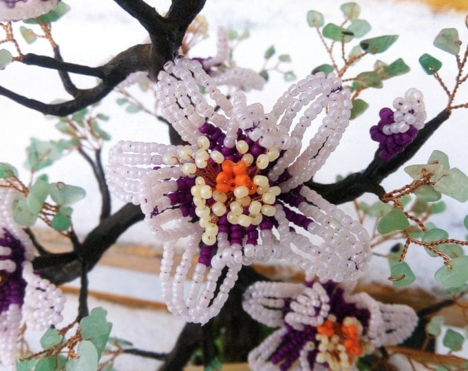 Artificial french beaded magnolia tree with natural jedi stones leaves - miniature tree - beaded sculpture - woody plant - tree of life