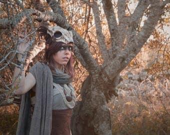 Resin deer skull. Fantasy costume headpiece. Skull headdress. Tribal shaman resin cast accesory.