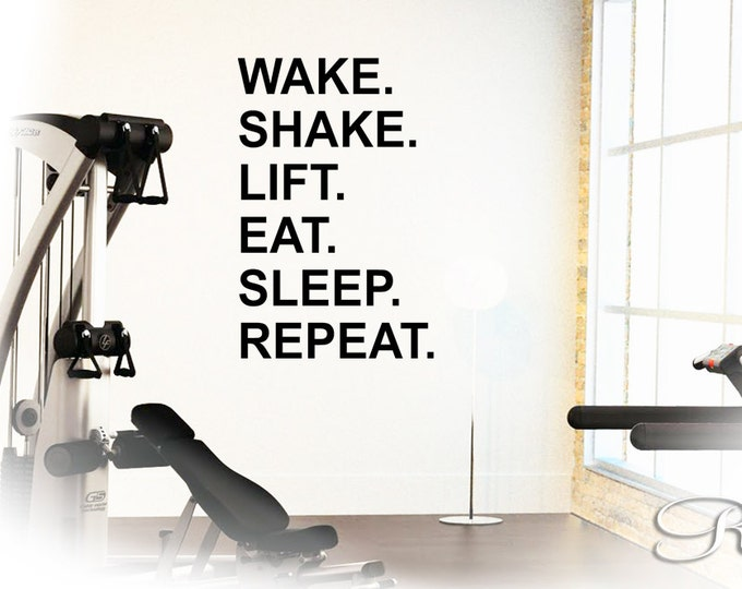 """Vinyl Decal MOTIVATION WALL QUOTES """" Wake shake lift eat sleep repeat """" wall decal wall sticker workout runner gym dumbbell crossfit"""
