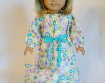 Flower Green Flannel Nightgown for American Girl Doll & 18-inch Dolls – Doll Flowery Flannel Nightgown With Optional Doll Pillow