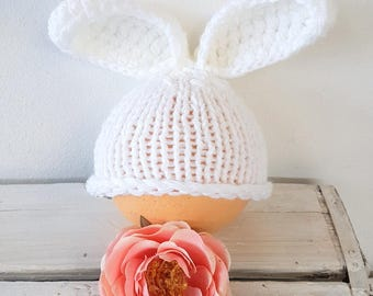 Baby Bunny Beanie, hand knit bunny ears hat, baby girl hat, baby boy hat, bunny photo prop, knitted bunny hat, baby animal hat