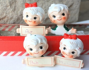Vintage Holt Howard Christmas Children Place Card Holder Set Mid Century Japan Figurines Collectibles Decorations