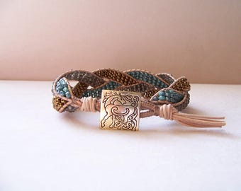 Bronze Horse Beaded Braided Leather Wrap Cuff Bracelet, Beaded Leather Cuff, Horse Bracelet, Horse Jewelry, Leather Jewelry, Horse Gift