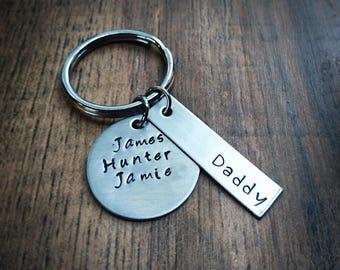 Hand Stamped Dad Keychain - Daddy Keychain - Daddy Gift - Dad Gift - Grandpa Keychain - PopPop Gift - Fathers Day Gift