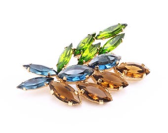 Earthy Colored Vintage Rhinestone Brooch in Blue, Brown, and Green