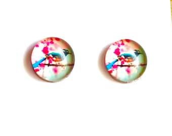 Cherry Blossom & Blue Bird Cabochon 10mm Glass Dome Cabs 10pcs