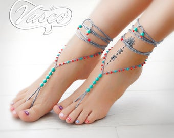 Turquoise Red Barefoot Sandals