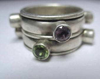 Vintage Nicky Butler Wide Band Ring Sterling Silver, Amethyst, Peridot Citrine, & More Cabochon Gemstones, Stacked-Look Design  Size 5.75