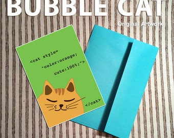 CSS Cat Note Cards Programmer cards code html cute orange fat cat geek geeky nerdy computer for girls web dev gifts coders coding guys men