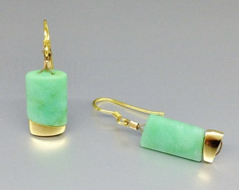 Elegant dangle earrings with natural Chrysoprase and 14K plated elements - gift idea - green and gold long earrings - modern and elegant