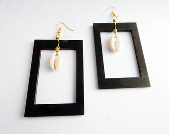 Cowry Shell Earrings Wooden Rectangle Black Wooden Jewelry Afrocentric Modern Dangle