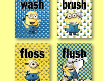 minion bathroom set. Despicable Me Minions Bathroom Prints Wash Brush Floss Flush Kids  Set of 4 Minion bathroom Etsy