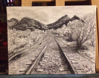Charcoal canvas Train tracks 11x14