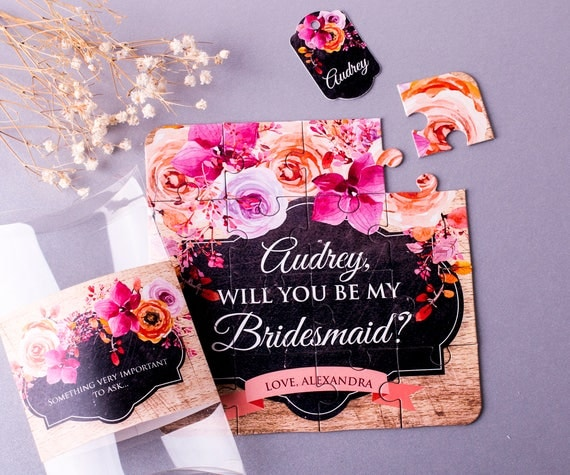 Will you be my Bridesmaid Gift Autumn Bridesmaid puzzle  - Ask Bridesmaid - I can't say I do without you