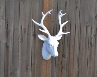 White Deer Head Wall Decor faux deer head   etsy