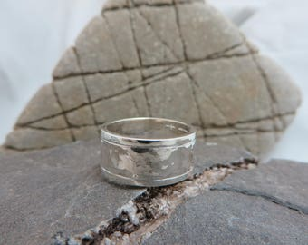 Hammered sterling silver wide ring