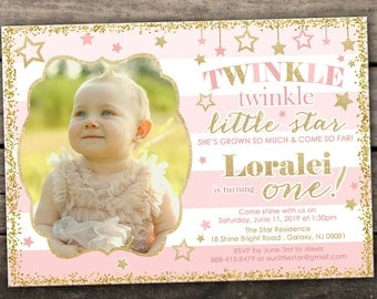 10% OFF NEW Printed or Digital Twinkle Twinkle Little Star Birthday Invitation Pink and Gold Birthday Invitation Star 1st Birthday Invite