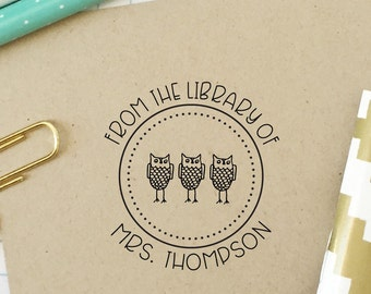 Library Book Stamp, Teacher Stamp, From the Library of, Classroom Library Stamp, Owl Stamp, Bookplate Stamp, Book Lover, Teacher Gift