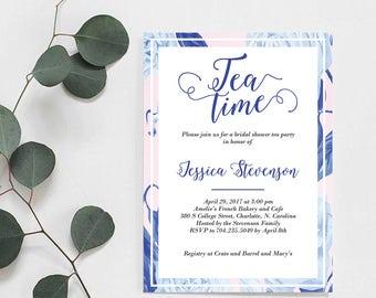 Printable Bridal Shower Invitation, Tea Time, Bridal Shower Tea Invite