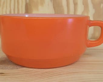 Vintage Fire King Soup and Cereal Mug with Handle ORANGE 1960s by Anchor Hocking