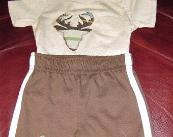 baby garanimal shirt and pants/size 0-3 months/deer head and hoof prints fabric applique/boys