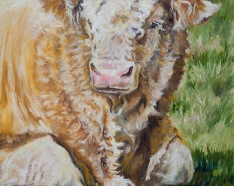 Original Oil Painting Master of the Field Original Artwork Home Decor Wall Decor Wall Hanging Art Animalistic Bull Portrait