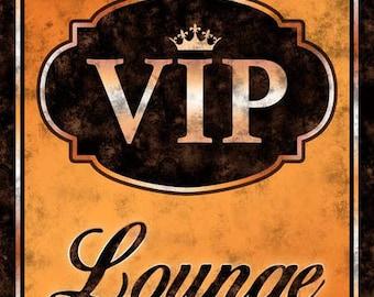 VIP Lounge Orange Metal Sign, Game Room, Man Cave, Den, Game Room   MEM1006