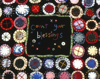 Count Your Blessings Penny Rug made from Recycled Wool Sweaters - Blank Greeting Card - Fiber Art Note Card