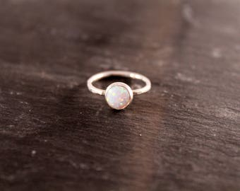 Opal Thick Gemstone Ring - ONE RING (Gold Rose Gold Silver October Birthstone Stacking Ring Bridesmaid Wedding Gift for her under 50)