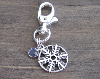 Silver Snowflake Charm with a Swarovski Crystal - Dog Collar Charm - Bridle Charm - Winter Charm