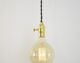 Unfinished Brass Turn Knob Pendant Light Fixture Hanging Plug in Canopy Vintage Lamp Cord