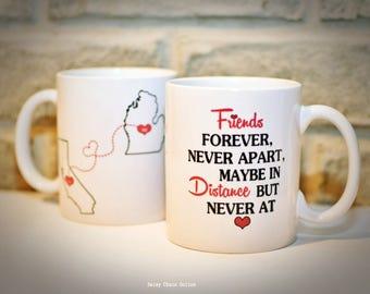 BFF Coffee Mugs - Custom Coffee Mug - Best Friends Mug - Double Sided Unique Coffee Mugs - Personalized Mug Miss You Coffee Mug, State Mugs