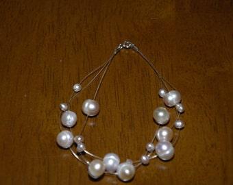 Sterling Silver Floating Multi Color Lavender Pearl Illusion Bracelet