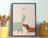 I love you dogs print -  Giclee Art Illustration - Romantic funny gift for dog lovers