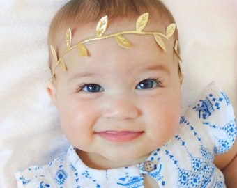 Baby Headband, Baby Girl Headband, Gold Headband, Gold Baby Headband, Infant Headband, Newborn Headband, Gold Leaf Baby Headband, Toddler