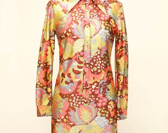 flower power dress vintage 1970s