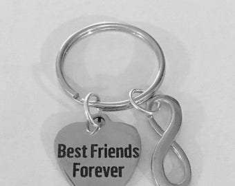 Best Friend Gift, Best Friend Keychain, Best Friends Forever Infinity Keychain
