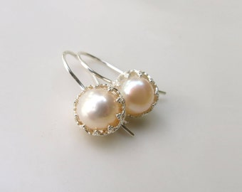 Pearl Earrings, Silver Earrings, Pearl and Silver, Bridal Pearl Earrings, Bridesmaid gift, Dangle earrings, Gift for Mom, Gift for Her