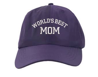 WORLDS BEST MOM Dad Hat,Gift for Mom,Nylon Baseball Hat Embroidered Baseball Caps,Best Mom Windbreaker Material Hats, Mother's Day, Purple