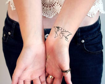 World tattoo etsy world map temporary tattoos world tattoo small temporary tattoo festival tattoo bohemian gumiabroncs Image collections