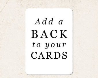 Add a Back Design to your cards