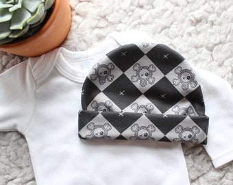 Skull Baby Hat - Baby Hat - Baby Beanie - Black Baby Clothes - Punk Baby Clothes - Unique Baby Gift - Bringing Home Baby outfit - Baby Cap