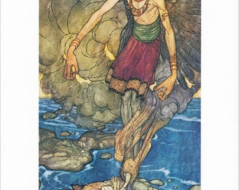 Arabian Nights vintage art nouveau print illustration folk tale fairy tale Genie  Edmund Dulac 8.5x11.5 in
