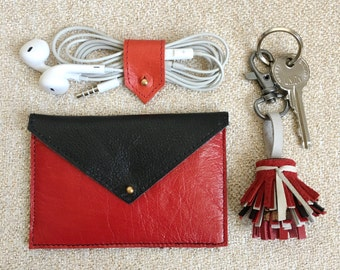 Envelope Wallet | Leather Card Holder | Business Card Holder | Credit Card Holder | Red and Black Slim Leather Wallet | Job promotion gift