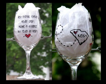 Friend gift, best friend gift, bff wine glass, gifts for friends, friendship gift, long distance friendship gift, friend gift, wine glass