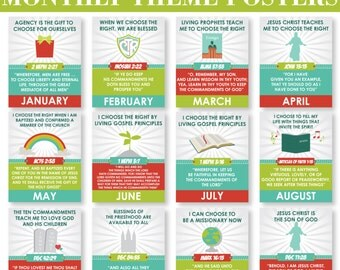 2017 LDS Primary Monthly Theme Posters - Choose the Right