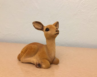 Flocked Fawn / Deer Figurine Laying Down